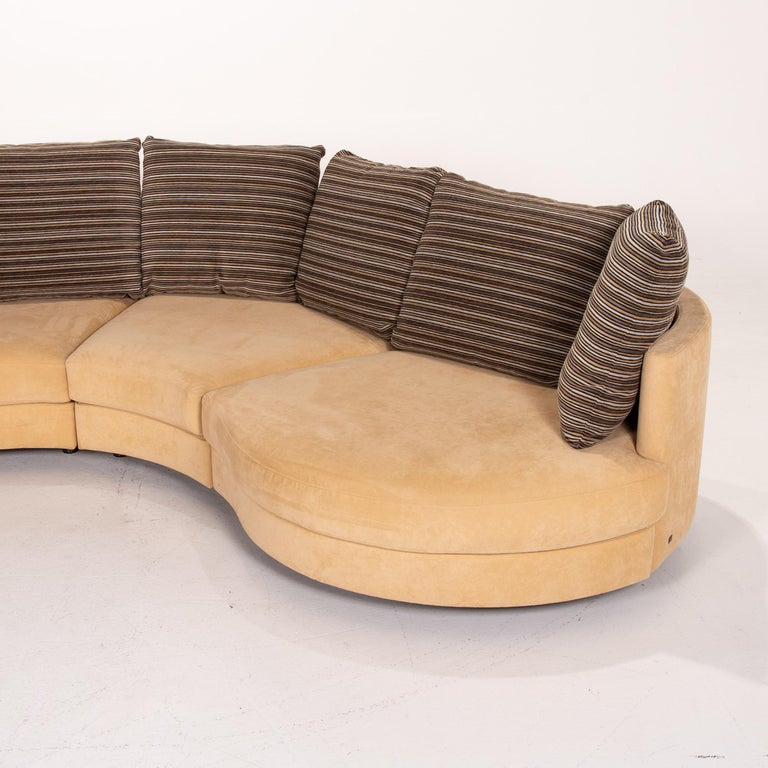 Rolf Benz Fabric Corner Sofa Beige Patterned Sofa Couch For Sale 4