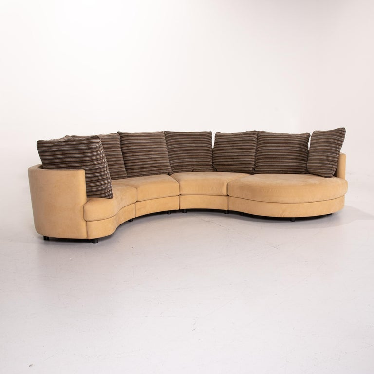Rolf Benz Fabric Corner Sofa Beige Patterned Sofa Couch For Sale 5