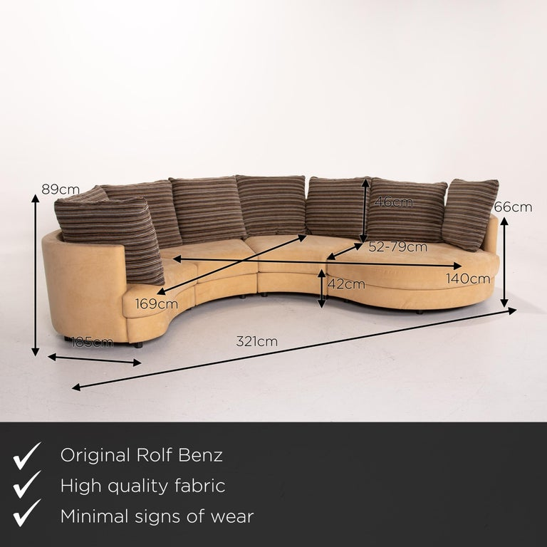 We present to you a Rolf Benz fabric corner sofa beige patterned sofa couch.  Product measurements in centimeters:  Depth 185 Width 331 Height 89 Seat height 42 Rest height 66 Seat depth 52 Seat width 169 Back height 46.