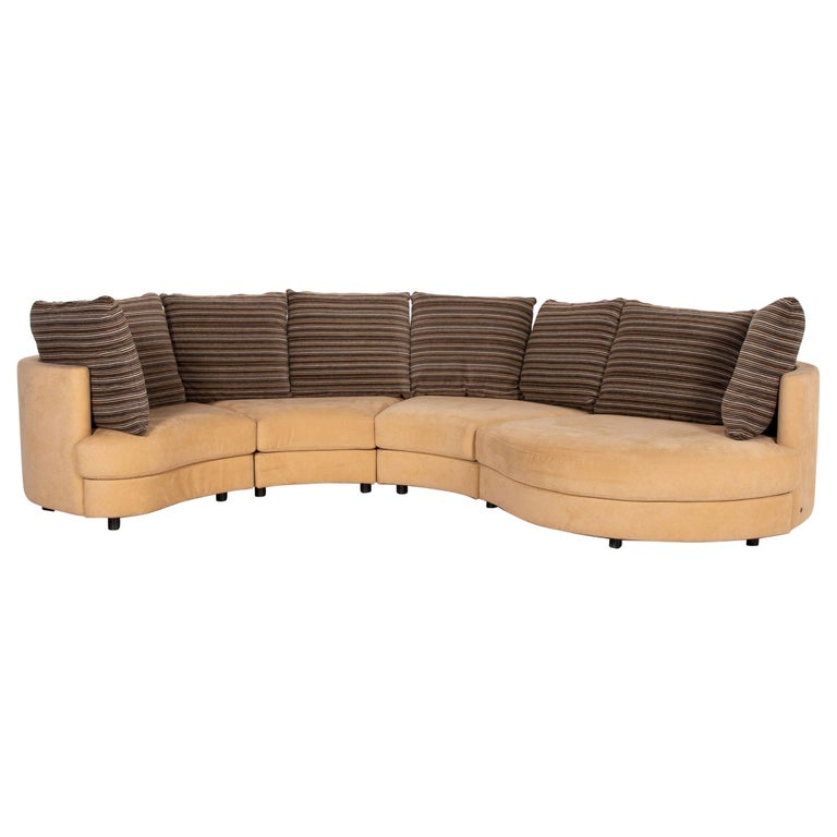 Rolf Benz Fabric Corner Sofa Beige Patterned Sofa Couch For Sale
