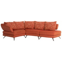 Rolf Benz Fabric Corner Sofa Orange Patterned Sofa Couch