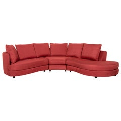 Rolf Benz Fabric Corner Sofa Red Sofa Couch
