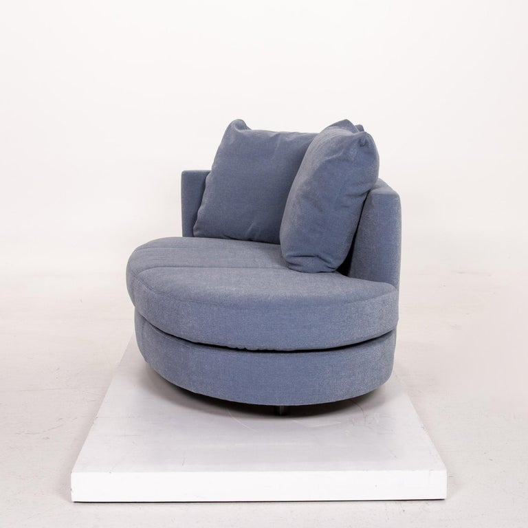 Rolf Benz Fabric Sofa Blue Two-Seat Couch 4