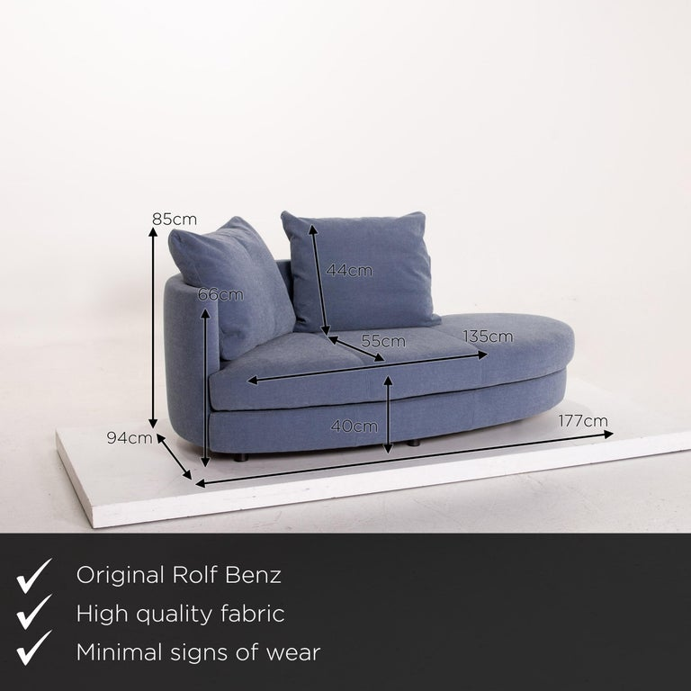We present to you a Rolf Benz fabric sofa blue two-seat couch.    Product measurements in centimeters:    Depth 94 Width 177 Height 85 Seat height 40 Rest height 66 Seat depth 55 Seat width 135 Back height 44.