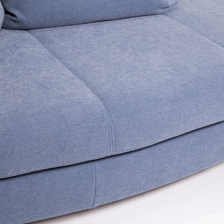 Modern Rolf Benz Fabric Sofa Blue Two-Seat Couch