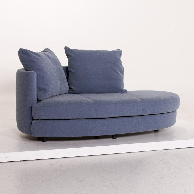 Contemporary Rolf Benz Fabric Sofa Blue Two-Seat Couch