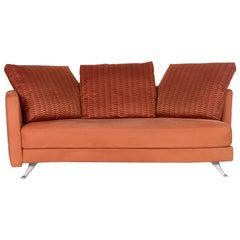 Rolf Benz Fabric Sofa Terracotta Orange Three-Seat Couch