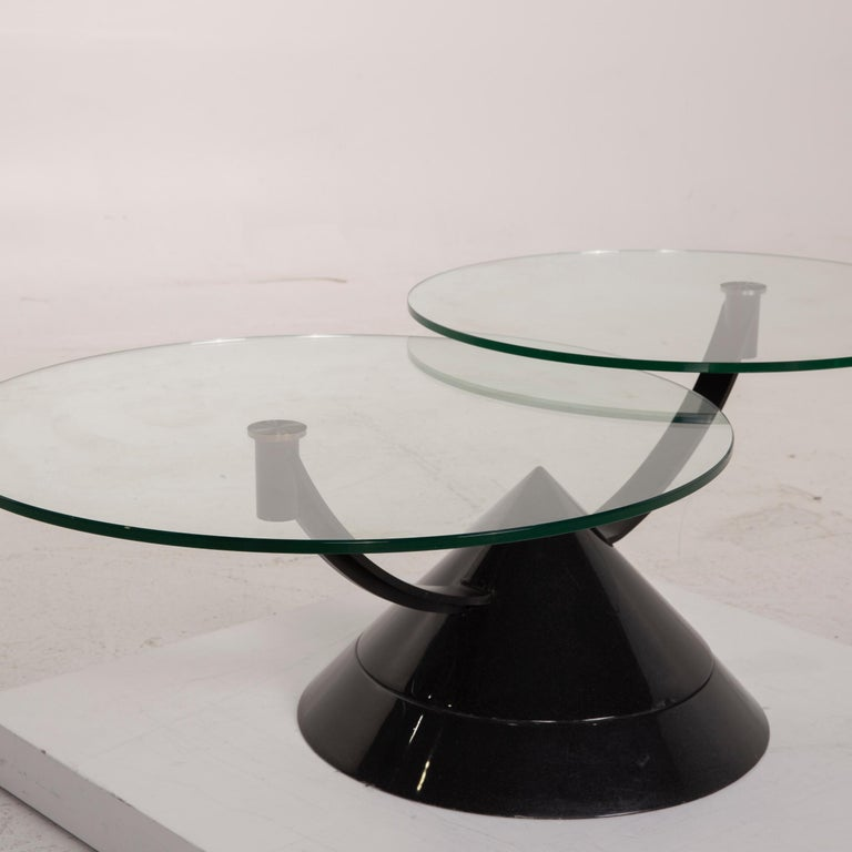 Modern Rolf Benz Glass Table Black Coffee Table Stone Outlet Adjustable