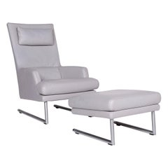 Rolf Benz Leather Armchair Gray Incl. Stool