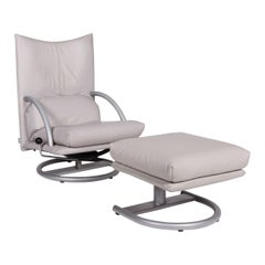 Rolf Benz Leather Armchair Gray Incl. Stool Function