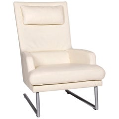 Rolf Benz Leather Armchair Incl. Stool Cream
