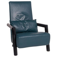 Rolf Benz Leather Armchair Petrol Blue