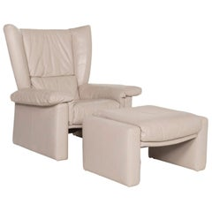Rolf Benz Leather Armchair Set Gray Stool