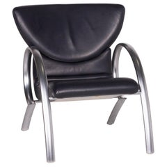 Rolf Benz Leather Chair Blue Dark Blue Armchair