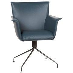 Rolf Benz Leather Chair Blue Petrol Armchair
