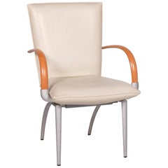 Rolf Benz Leather Chair Cream Armchair