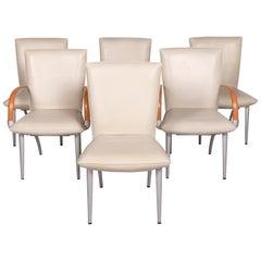 Rolf Benz Leather Chair Cream Armchair