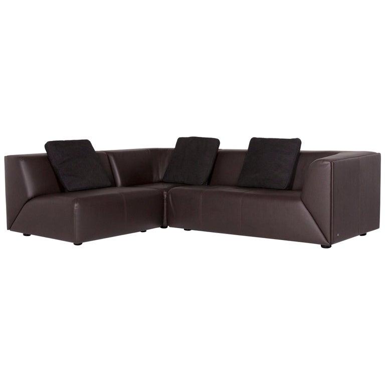 Rolf Benz Leather Corner Sofa Brown Dark Brown Sofa Couch