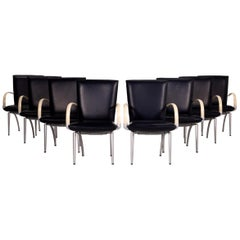 Rolf Benz Leather Dining Chair Set Blue Cream 8 Chair