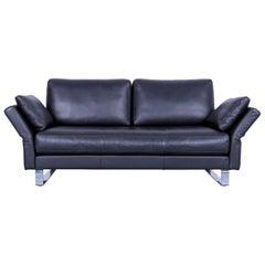 Rolf Benz Leather Sofa Black Three-Seat