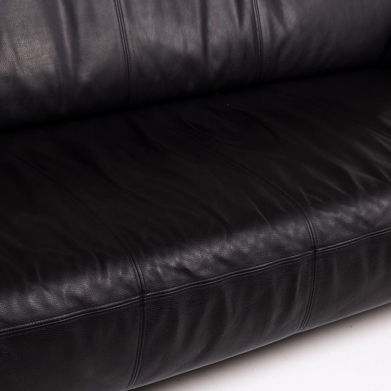 Modern Rolf Benz Leather Sofa Black Three-Seat Couch