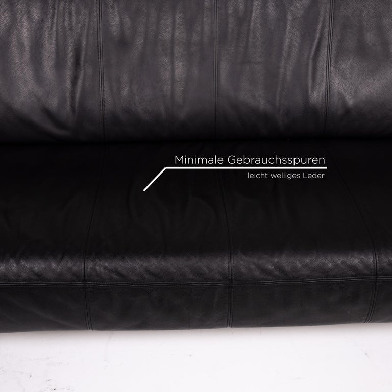 German Rolf Benz Leather Sofa Black Three-Seat Couch