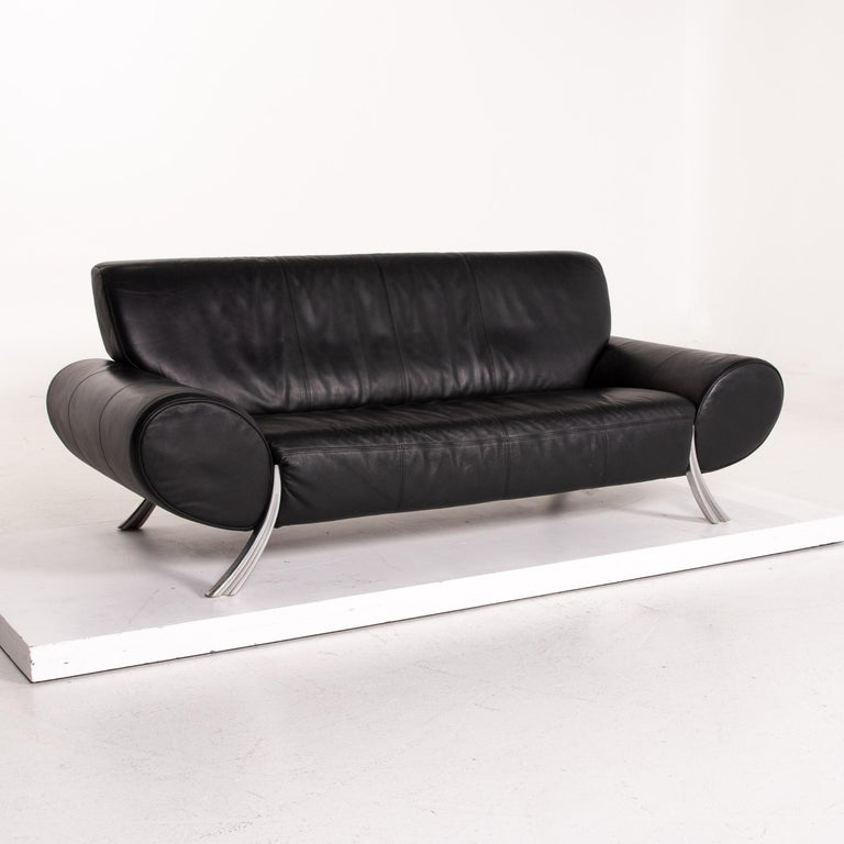 Contemporary Rolf Benz Leather Sofa Black Three-Seat Couch