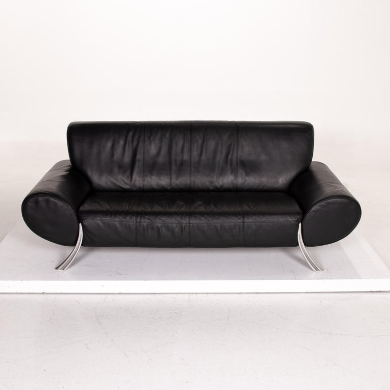 Rolf Benz Leather Sofa Black Three-Seat Couch 1