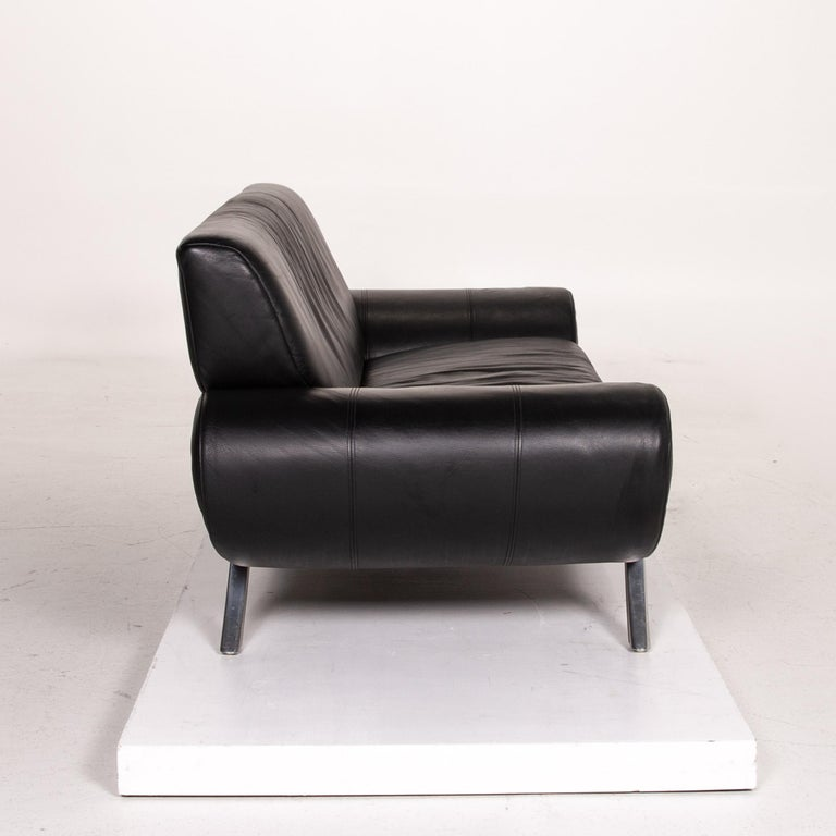 Rolf Benz Leather Sofa Black Three-Seat Couch 2