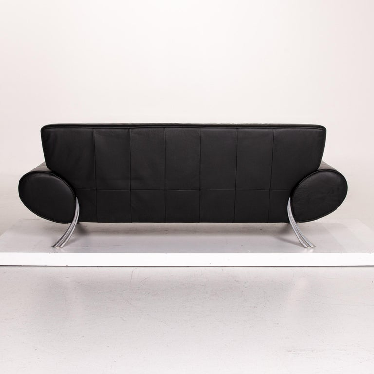 Rolf Benz Leather Sofa Black Three-Seat Couch 3
