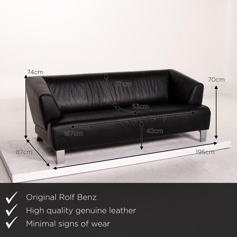 We present to you a Rolf Benz leather sofa black two-seat couch.