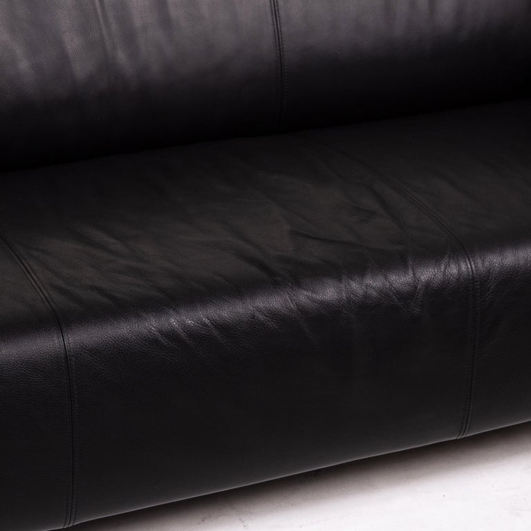 Modern Rolf Benz Leather Sofa Black Two-Seat Couch