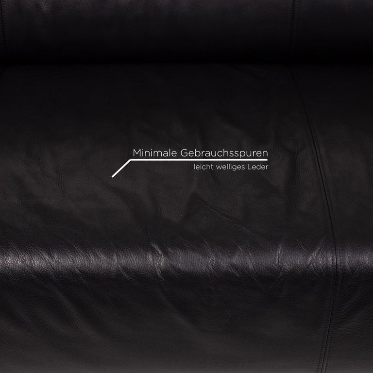 German Rolf Benz Leather Sofa Black Two-Seat Couch