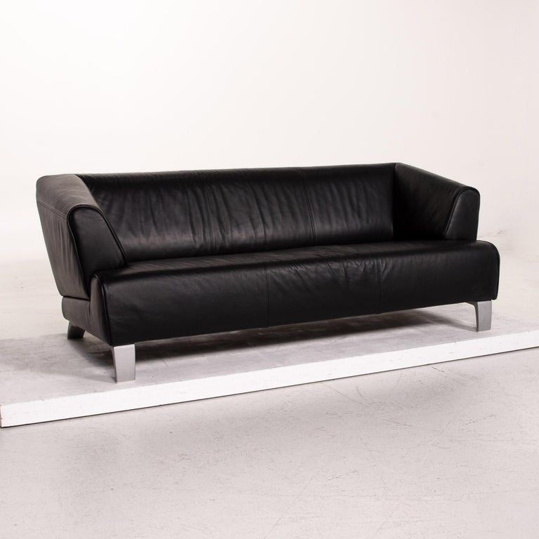 Contemporary Rolf Benz Leather Sofa Black Two-Seat Couch