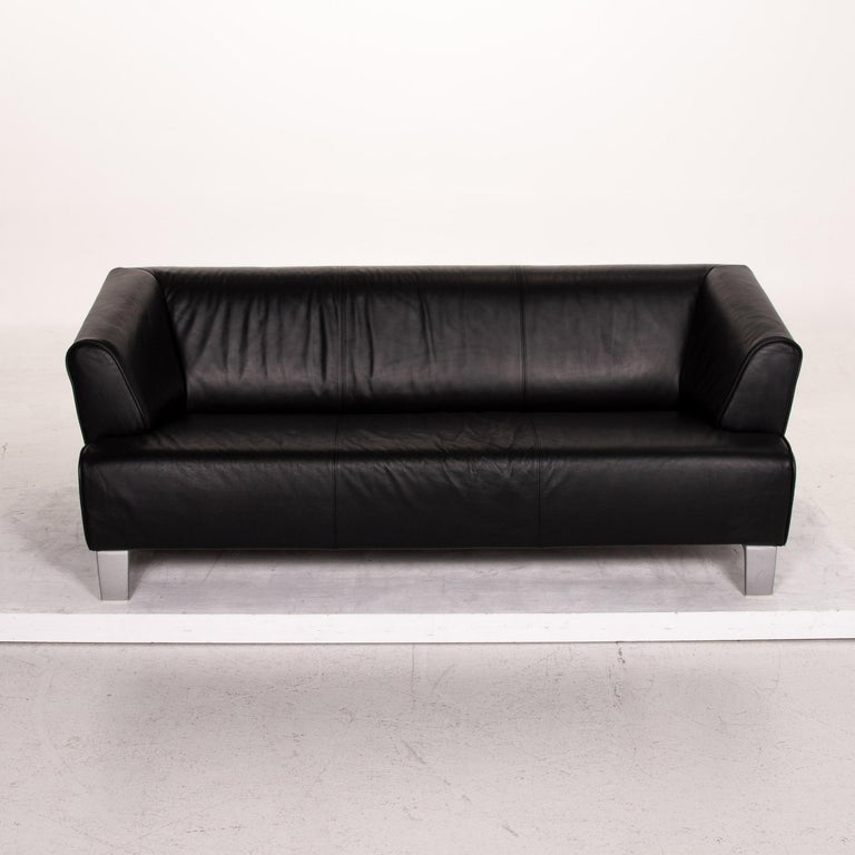 Rolf Benz Leather Sofa Black Two-Seat Couch 1