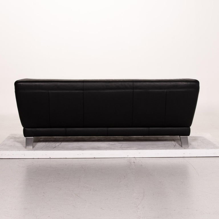 Rolf Benz Leather Sofa Black Two-Seat Couch 3