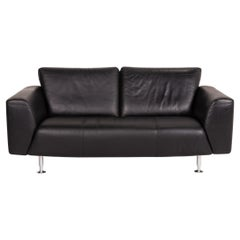 Rolf Benz Leather Sofa Black Two-Seater Couch