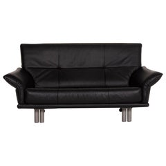 Rolf Benz Leather Sofa Black Two-Seat