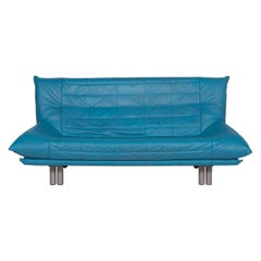 Rolf Benz Leather Sofa Blue Three-Seat