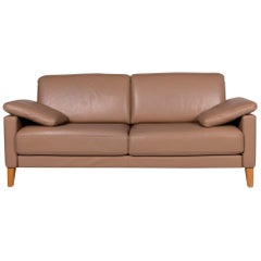 Rolf Benz Leather Sofa Brown Two-Seat Couch