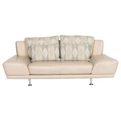 Rolf Benz Leather Sofa Cream Two-Seat Couch