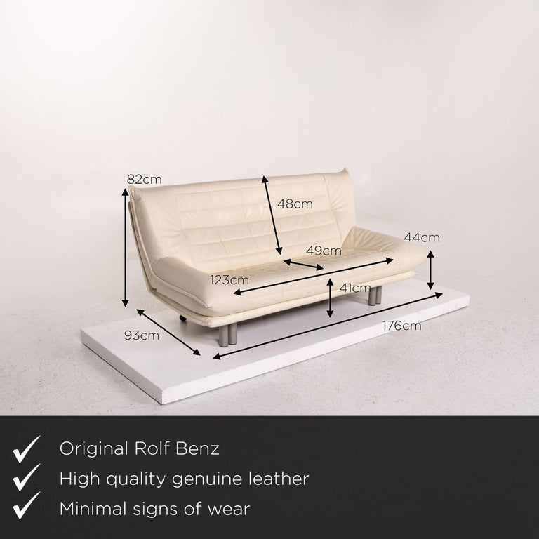 We present to you a Rolf Benz leather sofa cream two-seat couch.    Product measurements in centimeters:    Depth 93 Width 176 Height 82 Seat height 41 Rest height 44 Seat depth 49 Seat width 123 Back height 48.