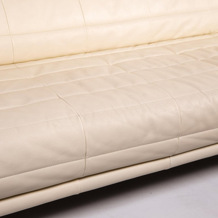 Modern Rolf Benz Leather Sofa Cream Two-Seat Couch