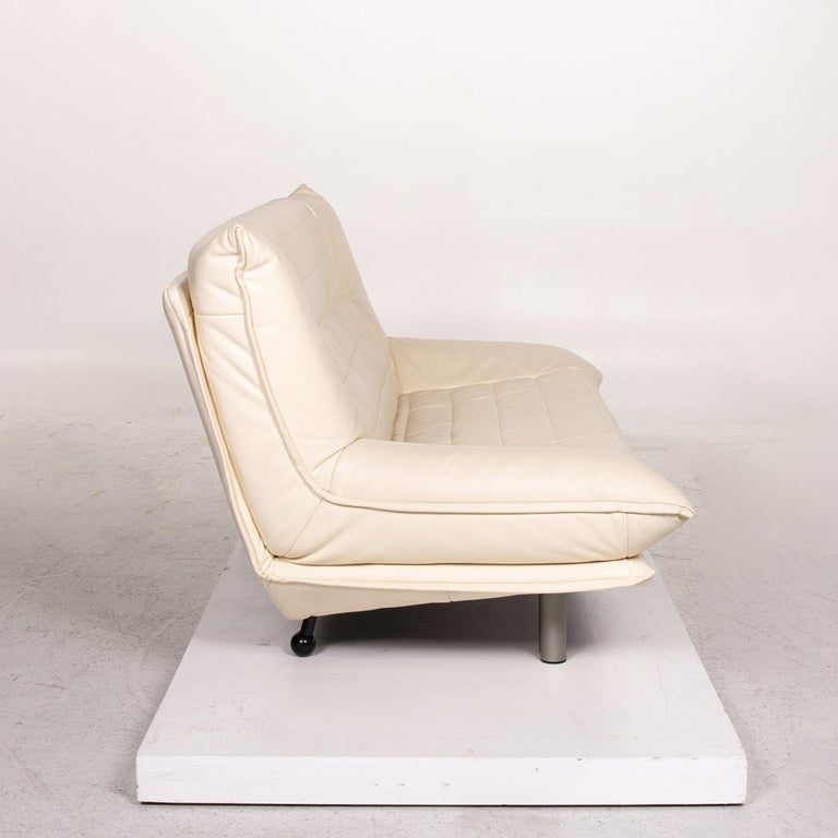Rolf Benz Leather Sofa Cream Two-Seat Couch 1