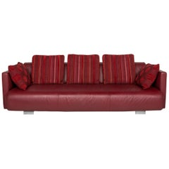 Rolf Benz Leather Sofa Red Three-Seat Couch