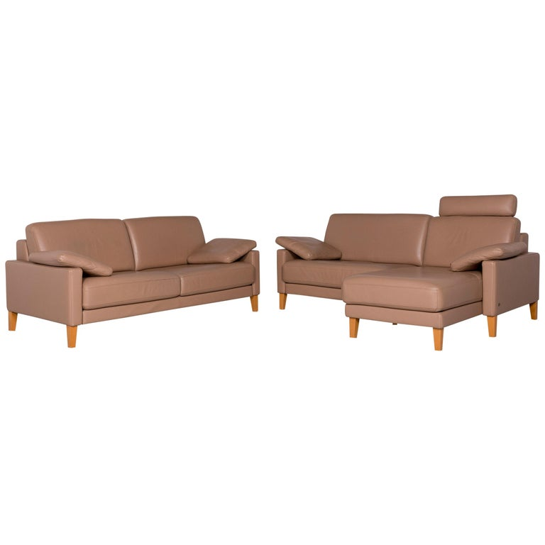 Leather Sofa Set Braun 1 Corner