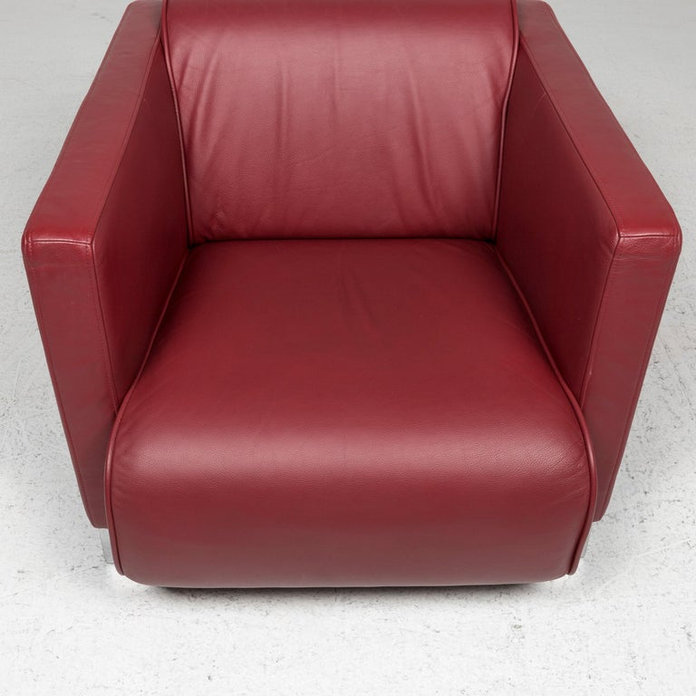 Rolf Benz Leather Sofa Set Red 1 Three-Seat 1 Armchair 1 Stool For Sale 8