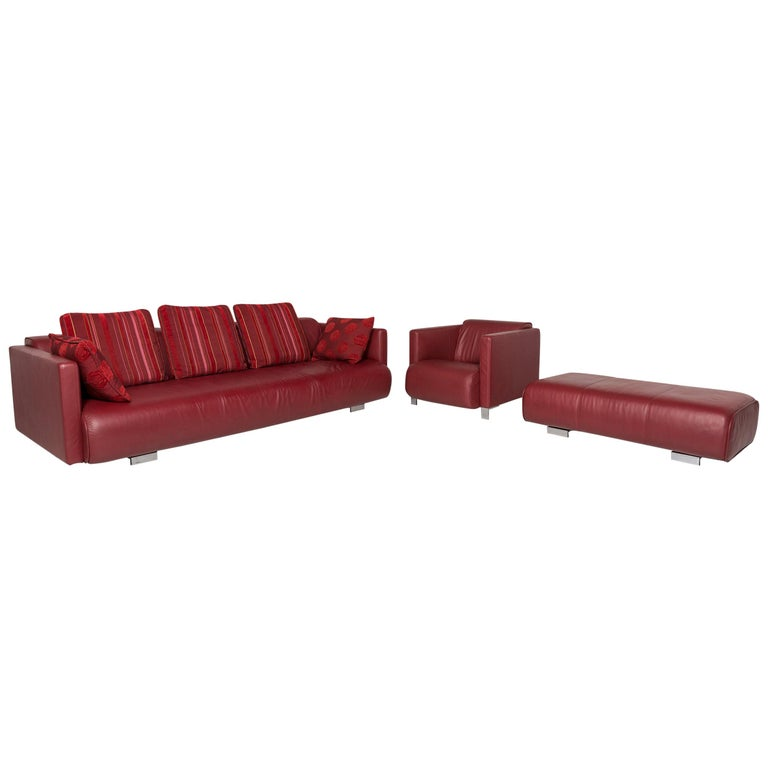 Rolf Benz Leather Sofa Set Red 1 Three-Seat 1 Armchair 1 Stool For Sale