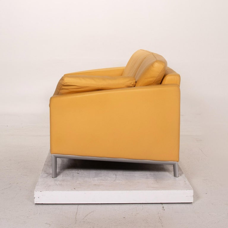 Rolf Benz Leather Sofa Yellow Three-Seat Couch 4