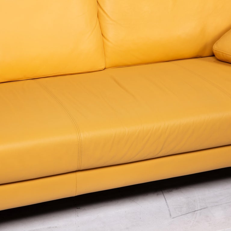 Modern Rolf Benz Leather Sofa Yellow Three-Seat Couch